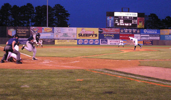 Off the foot - Delmarva Shorebirds Perdue Stadium